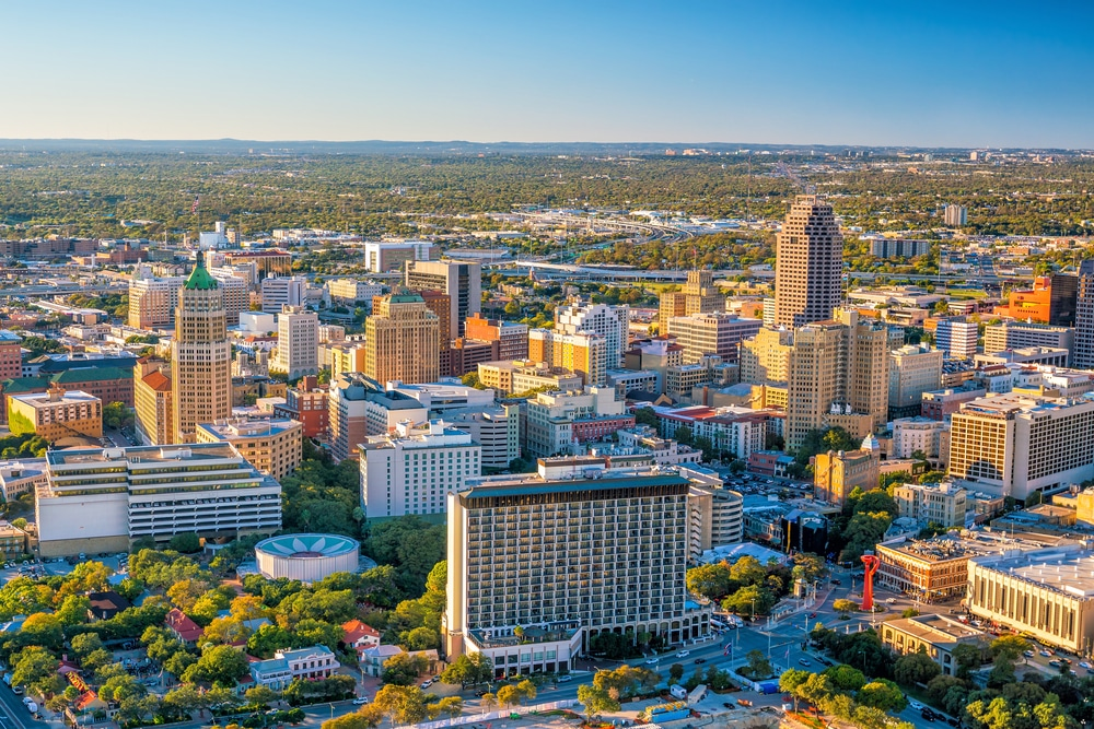 Top View Of Downtown San Antonio